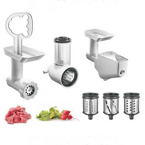 Pack 3 accesorios FGA MVSA FVSP Kitchenaid 5KSMFPPC - Pack de 3 Accesorios Kitchenaid 5KSMFPPC compuesto por 3 accesorios: picadora de carne FGA, cortadora - rebanadora MVSA, y colador de frutas y verduras FVSP. Este accesorio es compatible con los Robots de Cocina Kitchenaid Artisan, Ultra Power, Heavy Duty y Classic. Con este pack la amasadora batidora mezcladora se transforma en un completo y productivo robot de cocina Kitchenaid, el perfecto ayudante de su cocina. ( Ref. Anterior: 5FPPC ). + ENVÍO GRATIS. - Ver Detalles -.