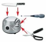Afilador eléctrico de cuchillos tijeras Lacor 69141 - Afilador de cuchillos y tijeras eléctrico universal Lacor color plata con interruptor de acción rápida On-Off, motor de alto par. Económico afilador con ranura para afilar los cuchillos separados por: hoja dentada - keystone, tijeras, destornilladores grande - pequeño. Filo perfecto y duradero para sus utensilios de corte. Muy silencioso y de tamaño compacto para ahorrar espacio en su cocina. - Medidas: 13,5x15x9 cm. - Potencia: 60w. - Voltaje AC: 230v, 50hz. Este afilador de cuchillos y tijeras eléctrico sigue la normativa de la CEE y Rohs.