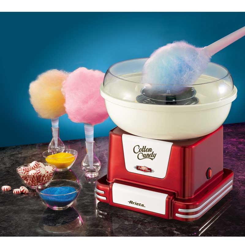 Maquina de Algodon de Azucar Ariete 2971 Party Time - Máquina de algodón de azúcar Ariete con diseño retro. Funciona tanto con azúcar, como con caramelos duros. Gracias a su potencia de 500w, en un instante podrás hacer algodón dulce de azúcar de muchos sabores y colores diferentes. Es muy fácil de usar. Incluye 2 conos de plástico y cuchara de medición. Ideal para fiestas o cumpleaños. Desmontable y fácil de limpiar. - Medidas: 26x25x25 cm.  – Peso: 1,68 kg. - Voltaje: 230v. - Potencia: 500w.