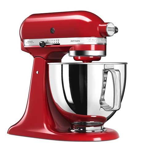 Amasadora batidora Kitchenaid 5ksm125 err Artisan - Robots de Cocina KitchenAid Artisan color rojo imperial, con robusto cuerpo metálico. Amasadoras batidoras mezcladoras con movimiento planetario, la varillas o ganchos giran sobre sí mismas siguiendo el contorno de las paredes del bol para resultado mas profesional. Volumen del bol: 4,83 litros. Capacidad de masa: 1.2 kg todo tipo de harina o 1 kg harina de trigo. Velocidad de 58 hasta 220 rpm con regulación de 10 velocidades. Transmisión directa por engranajes para mayor fiabilidad y durabilidad. Accesorios incluidos: Bol en acero inoxidable con asa ergonómica, batidor de varillas, batidor especial plano, batidor amasador de gancho. Kitchenaid ha diseñado la amasadora batidora mezcladora robot de cocina multi-funcional Artisan, la combinación perfecta de eficiencia, diseño y potencia con cinco años de garantía de motor.- ENVÍO GRATIS - Ver Vídeo Demostrativo -.