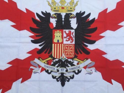 Bandera decorativa Tercios españoles - Imperio español - Con escudo - 150 x 90 cm.