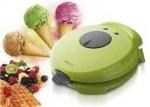 """Máquina de barquillos conos helado - waffle Sogo ICM-SS-7190 - Máquina de barquillos de helado y waffle Sogo color verde. Tu máquina para preparar deliciosos conos crujiente para helados y una variedad de postres. Usted también puede hacer excelentes gofres y barquillos crujientes. Una manera fácil y rápida de preparar sus meriendas divertidas en su casa. Herramienta de plástico para elaborar el cono incluida. Luces indicadoras de """"hornear"""" y """"listo"""". Control de temperatura variable. Placa de cocción anti-adherente. Recuperación de temperatura instantánea para cocción continua. Dispositivo de bloqueo y cierre único que garantiza un espesor uniforme y una perfecta cocción. El guarda-cable integrado para almacenar cómodamente este aparato en posición vertical. - Voltaje: 220-240v, 50hz. - Potencia: 750w."""