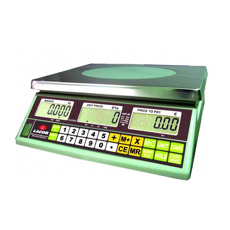 Bascula electronica profesional Lacor 61730 - 30 kg - La báscula eléctrica de Lacor profesional con teclado intuitivo de fácil uso, con seis memorias programables, función tara y visor de nivel y planitud es la herramienta ideal para su negocio. Para evitar un mal funcionamiento y uso esta báscula dispone de avisador acústico. Su doble display y función de cambio es útil para el manejo y utilización de varias personas a las vez. Esta báscula con plataforma inoxidable - 3Ox24 cm - extraible de fácil limpieza, posee unas patas de apoyo regulables. Además su batería interna recargable le dará autonomía para 15 días. Para la correcta utilización y funcionamiento esta báscula posee un libro de instrucciones en 7 idiomas. Características técnicas: - Unidad de medida: Kilos, onza, libras. - Tensión: 220-240v, 50hz. - Tara: 30 kg. - 10gr.  - Dimensiones: 30x32x12 cm. - Peso: 4,60 kg. - Potencia: 0,2w. +( NO Envío Contra-reembolso ). - ( ENVÍO GRATIS ).
