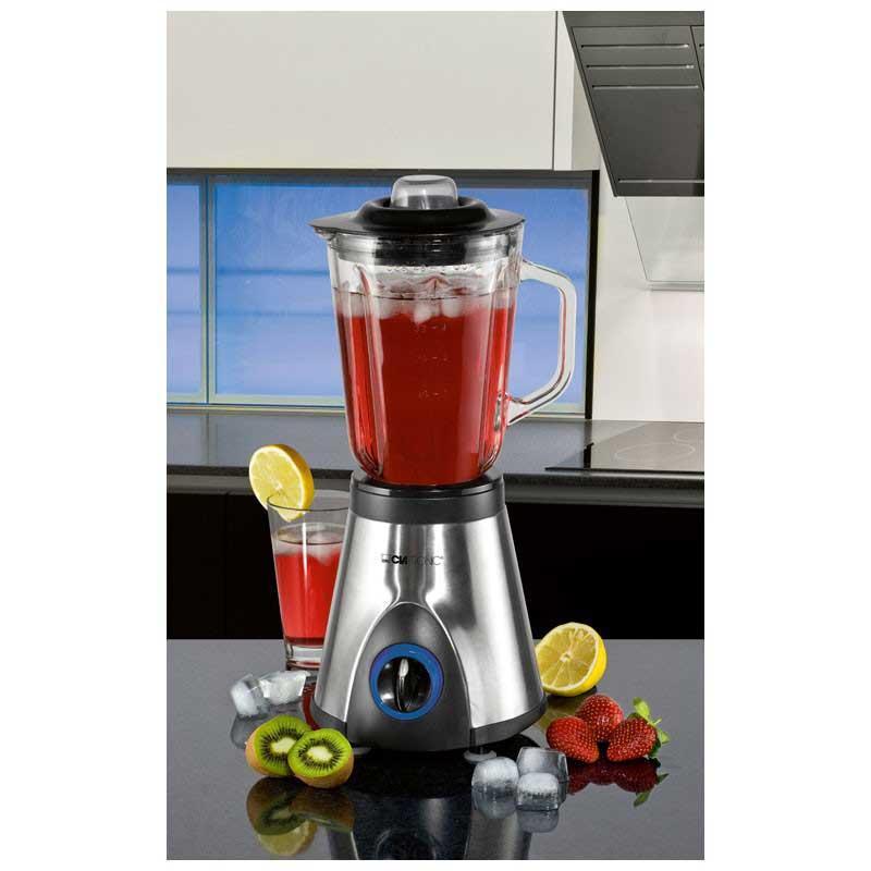 Batidora de Vaso Clatronic UM3284 - Bomann UM1354 - 500w - Batidoras de Vaso Clatronic con carcasa de acero inoxidable y motor de 550 W. para triturar, batir, desmenuzar, agitar, mezclar con 4 velocidades incluida la función picar hielo. Ideal para la cocina y el bar en la preparación de bebidas de frutas, batidos, cócteles, sopas, salsas, comidas para bebes. Recipiente mezclador graduado de cristal extraíble de 1,5 litros y tapadera con orificio de 5 cm. para rellenar el recipiente. Cubierta de apertura de rellenado utilizable como vaso medidor de 2 cl. Bloqueo de seguridad sin recipiente. Base antideslizante y recoge-cable. - AC: 230v, 50hz, 550w. - Medidas: 20x41x18,5 cm. - Mod. Equivalente: Bomann UM1354.