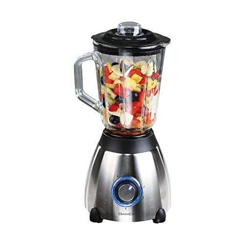 Batidora Jarra vidrio Domoclip DOM171CU - color Cobre - Batidora de jarra color cobre con pedestal negro con base de acero inoxidable. Batidora indicada para mezcla, trituración, licuado, o molienda de los alimentos que permite preparar diferentes bebidas de frutas, la mezcla de zumos, batidos de frutas y de leche. Su jarra de vidrio desmontable puede lavarse en el lavavajillas, tiene una capacidad de 1,5 litros y tapa con apertura para el relleno fácil con tapón dosificador. Batidoras de vaso con 5 velocidades equipadas con 6 cuchillas de acero inoxidable desmontables y sistema de bloqueo que ofrecerá tanto la facilidad de uso, eficiencia y sobre todo seguridad. Base antideslizante. Las piezas son compatibles para lavar en el lavavajillas. Características: - Material jarra: vidrio. - Capacidad: 1,5 litros. - Base de acero inoxidable. - Velocidades: 5. - Perilla de control extraíble con indicador LED. - Botón