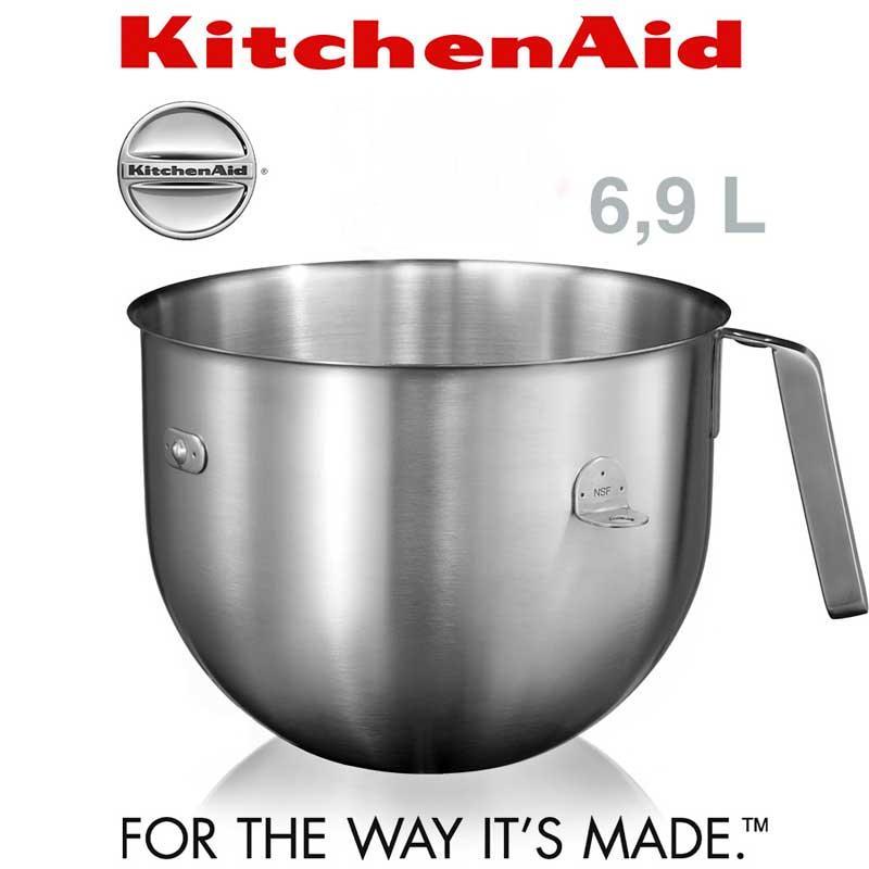 Bol acero 6,9L Accesorio Kitchenaid 5KC7SB - para 5ksm7990x y 5ksm7591x - Bol de 6,9L en acero inoxidable, accesorio para ser utilizado en Robots de cocina Kitchenaid gama Profesional - 5KSM7990x -y Heavy Duty Profesional - 5KSM7591X -. Tener un segundo bol estándar de 6,9 litros es ideal si estás elaborando alguna receta que requiere varios tipos de masas o mezclados. No necesitaras lavar el bol continuamente y será más práctico a la hora de preparar las recetas. + Características: - Bowl standard con capacidad para 6,9 litros. - Construcción de acero inoxidable pulido. - Con asa y soportes fijación. - Accesorio válido Accesorios solo para  5ksm7990x y 5ksm7591x. - Duradero y de fácil limpieza. + Articulo bajo Pedido.-