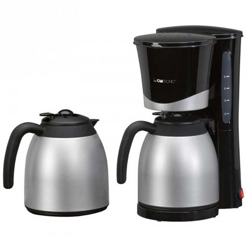 Cafetera de goteo Termo Clatronic KA3328 - 8 a 10 tazas - Esta cafetera termo de Clatronic para 8 o 10 tazas tiene 2 prácticas jarras termo de 1 litro cada una. Es una cafetera de goteo con filtro extraible, indicador de nivel de agua, interruptor on-off luminoso de funcionamiento y apagado automático. Delicioso café siempre listo para tomar. - Voltaje: 230v, 50hz. - Potencia: 870w.