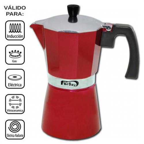 Cafetera italiana Fersay - 6 tazas - aluminio - roja - Cafeteras italianas de alta calidad color rojo, para preparar hasta 6 tazas de café. Cafetera moka con tratamiento interior