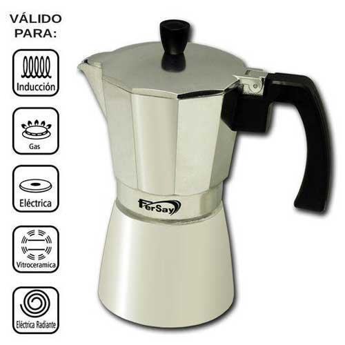 Cafetera italiana Fersay - 9 tazas - aluminio - Cafeteras italianas de alta calidad, para preparar hasta 9 tazas de café. Cafetera moka con tratamiento interior