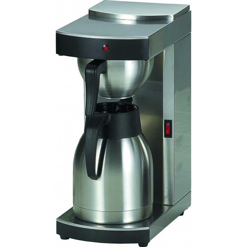 Cafetera de goteo Termo Lacor 69270 - profesional - 1,5 litros - Esta cafetera de goteo termo eléctrica automática de Lacor es ideal para los amantes del café. Su sistema de filtrado permite apreciar todo el aroma y sabor de un buen café. Con filtros desechable que garantizarán un mejor goteo. A diferencia de otras cafeteras por goteo, esta tiene una jarra termo de acero inoxidable 18–10 con una aleación de 18% de cromo y 10% de níquel, que proporcionan un elevado nivel de resistencia y calidad superior al acero inoxidable normal, además de una resistencia extra a la corrosión y otras sustancias que pudieran deteriorar la cafetera. De fácil limpieza por ser un material liso e higiénico. Con una capacidad de 1,5 litros y placas de calor que mantienen el café calentito, solo tendrá que preocuparse en saborearlo cuando le apetezca. Características técnicas: - Capacidad: 1,50 litros - 8 minutos. - Jarra - termo:  1,5 litros. - Dimensiones: 17x28x38 cm - Peso: 4,2 kg - Potencia: 1450w. Las cafeteras eléctricas de Lacor se ajustan a la normativa RoHS CE. + ( ENVÍO GRATIS ). +( NO Envío Contra-reembolso ).