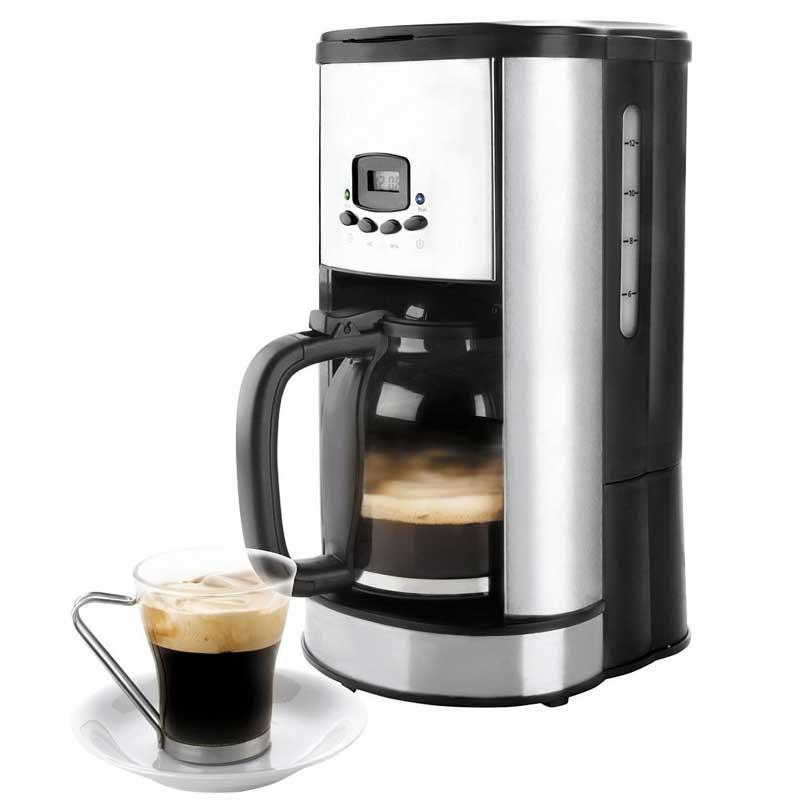 Cafetera de goteo Programable Lacor 69279 - 1,8 litros - Cafetera eléctrica de goteo programable Lacor de 900 W, con capacidad de 1,8 litros para 20 tazas de café y con indicador del nivel de agua. Diseño compacto y atractivo con frontal de acero inoxidable y pantalla LCD de alta calidad, programable 24 horas. Función anti-goteo. Placa anti-adherente para el mantenimiento del café caliente, se desconecta automáticamente después de 40 minutos. Gran estabilidad gracias a la base antideslizante. Las cafeteras de filtro o goteo Lacor son sencillas de utilizar y permiten dosificar el café fácilmente. + Características: - Capacidad: 1,8 Litros. - Tazas: 20.  - Porta-filtro desmontable. - Base calentadora anti-adherente. - Mantiene el café caliente durante 2 horas. - Desconexión automática. - Función pausa para servir. - Función anti-goteo. - Programable: 24 horas - Dimensiones: 28x25x37 cm. - Peso: 3,1 kg. - AC: 220-230v, 50-60hz. - Potencia: 900w.
