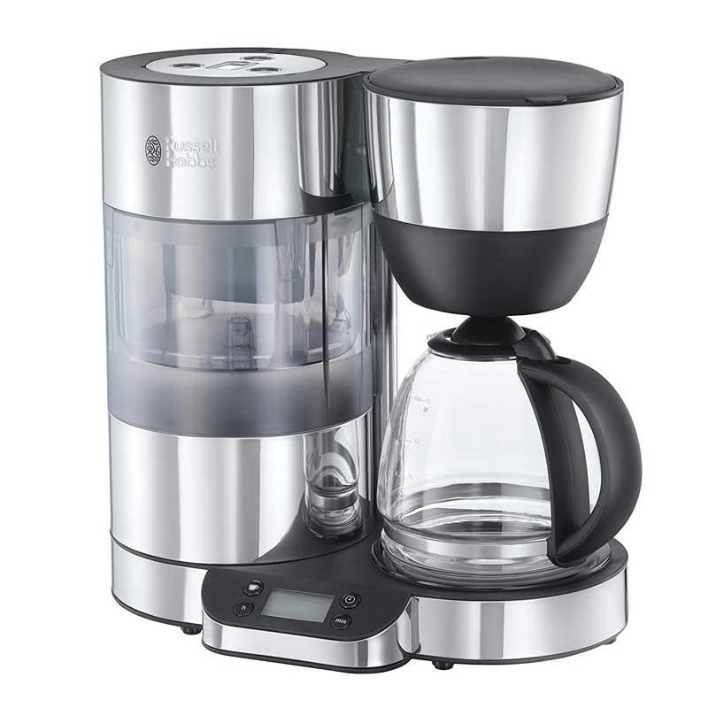 Cafetera de goteo Russell Hobbs 20770-56 Clarity - con filtro Brita - Esta cafetera Russell Hobbs Clarity con capacidad de 1,25 litros para 10 - 12 tazas de café, es idonea para los puristas del café. Su avanzada tecnología incorpora un filtro BRITA que elimina las impurezas del agua, porque, como bien saben los amantes del café, cuanto más pura y limpia es el agua se obtiene un sabor más puro, y contribuye a desplegar la potencia del aroma del café natural. Esta cafetera de atractivo diseño cuenta con un depósito de agua móvil que mantiene la presión en la resistencia para que la temperatura óptima sea constante durante la elaboración. La cafetera de goteo con jarra de cristal, quedará genial en cualquier cocina. Su estructura transparente te permite ver cómo actúan sus ingeniosas y útiles funciones. - Ver Detalles y Vídeo -.
