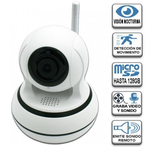 Camara Smart Wifi + Lan Ethernet 1.3MP 1280x960 - Ideal para la seguridad de bebés, ancianos, mascotas, locales, almacenes ... Uso interior, fácil instalación y configuración. Con APP para usar todas las funciones desde el Smatphone, tablet (Android e Ios). - Visión nocturna 10 LED IR. - Control de giro horizontal: 335° y vertical: 100° desde el Smarphone. - Grabación de imagen y sonido. Captura de fotos. - Alarma móvil. - Permite visualizar, oir y hablar en tiempo real y reproducir las imágenes grabadas. - Detección de movimiento. - Detección del llanto de los bebés. - Visualización simultánea de hasta 4 usuarios. - Admite tarjeta micro SD de hasta 128Gb. - Compatible con almacenaje en la nube (de pago). - Resolución de 1.3MP, 1280x960 (960P), H.264a. - Contenido del producto: cámara, cargador, soporte para colgar en techo o pared y todos los elementos necesarios para su instalación. - Peso: 0,2 Kg. - Dimensiones (HxD): cm. - Voltaje: DC IN 5 V - 2 A. - Color: Blanco. + Garantía: 2 Años.