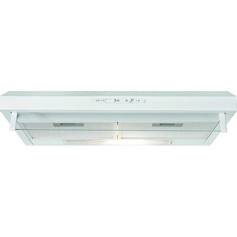 Campana Extractora de cocina Bomann DU623 - blanca - Campana extractora de cocina convencional de 60 cm. Acabado en acero inoxidable. Clasificación energética D. 3 Niveles de potencia. Nivel de ruido en funcionamiento 68 dB. Dispone de opción de re-circulación de aire o por conducto. Instalación bajo mueble. Iluminación por halógeno 1 x 28 W E14, conmutable por separado. Interruptor de encendido deslizante con 3 niveles de potencia. 2 x Filtro de aluminio anti-grasa multi-capa - 5 capas - desmontables para una fácil limpieza. Visera frontal de vidrio. Dispone de opción de re-circulación de aire o por conducto. Incluye material de montaje, tubo vertical con aleta de retención. Opción de re-circulación de aire a través de instalación de filtros de carbón activo KFM 565 que se encargan de regenerar y purificar el aire a través de ellos, Código art 256 500 - no incluido -. Perfecta para la instalación en cocinas que no cuentan con ventilación externa. Salida de aire: Ø 120 mm. Clasificación energética: D. Consumo de energía-año: 77.3 kWh. Reglamento Delegado UE n.º 65/2014 de la comisión de 1 de octubre de 2013. - Altura: 13,5 cm. - Ancho: 60 cm. - Profundidad: 50 cm. - Peso neto: 6 kg. - Peso bruto: 7 kg. - Voltaje: 220-240v, 50hz. - Consumo energético: 105w. ( NO Envío Contra-reembolso ).