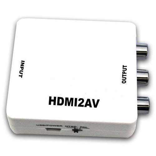 Convertidor de señal HDMI o DVI a AV ó S-V - El mini convertidor, transforma la señal HDMI o DVI ( vídeo y audio ) a AV ( CBS ) vídeo compuesto ó S-VIDEO. Permite a los aparatos que tienen sólo salida HDMI conectarse a TV Analógica. Función OSD. Se utiliza principalmente en la comprobación de equipos AV. No se necesita instalar drivers, es portátil flexible y conecta automáticamente. Entrada: HDMI. Salida: 3 x RCA ( amarillo, blanco, rojo ). Salida CVBS: PAL, NTSC_M y NTSC_J. Resolución de entrada hdmi: 480P (60HZ), 576P (50HZ), 720P, 1080i, 1080p. Compatible con HDMI 1.3. + Incluye: 1 convertidor HDVMI a AV, 1 cable USB y Manual de Usuario.
