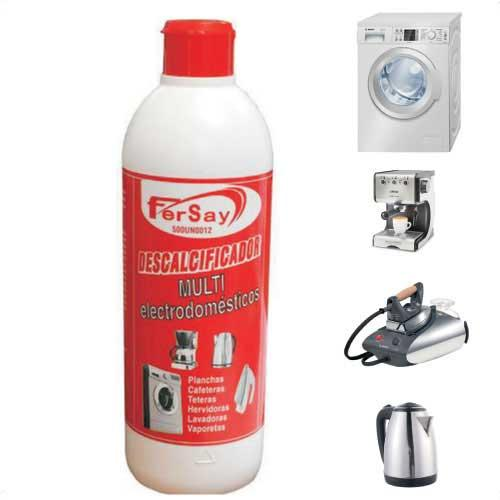 Descalcificador de Electrodomesticos Fersay - 500 ml - El Descalcificador para electrodomésticos FERSAY limpia y desincrusta los restos de cal, prolongando su vida útil y optimizando su funcionamiento. Especialmente formulado para el cuidado y mantenimiento de electrodomésticos, puede eliminar los residuos de cal acumulados en su plancha, hervidor, tetera, cafetera, vaporeta, y lavadora o lavavajillas, aportando máximo brillo y limpieza. - Capacidad : 500 ml.