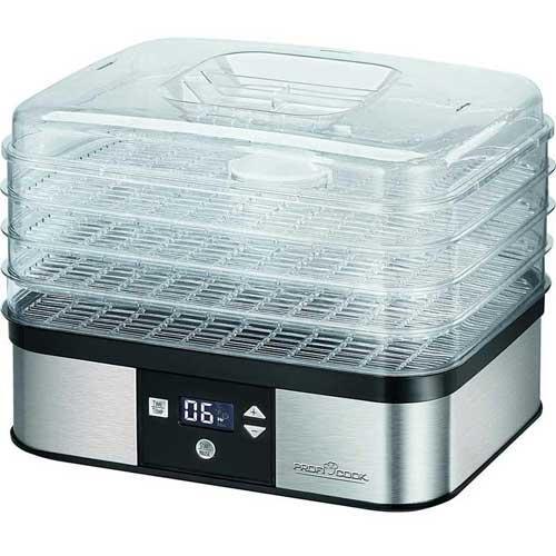 Deshidratador de alimentos Proficook DR 1116 - Digital - Temporizador - Los deshidratadores digitales de alimentos Proficook DR1116 sirven para deshidratar o secar fruta, verdura, vegetales, carne o pescado. Con 4 grandes contenedores de 32 x 25 cm, transparentes y de fácil limpieza. Pantalla LCD con regulación electrónico de temperatura de funcionamiento de 7 niveles ajustable entre 40-70°C y conmutable °C - °F. Temporizador electrónico de 1-48 horas con indicador de tiempo restante. Este deshidratador en oferta dispone de sistema de re-circulación de aire, protección contra sobrecalentamiento e interruptor On-Off. Alta estabilidad gracias a sus pies de goma antideslizante. - Capacidad: 4 kilogramos en total - 4 contenedores con 1Kg de capacidad cada uno -. - Medidas: 34 x 26 x 26  cm. - Peso: 2,4 kg. - Voltaje AC: 220-230 v, 50-60 hz, 350 w. - Ver Detalles -