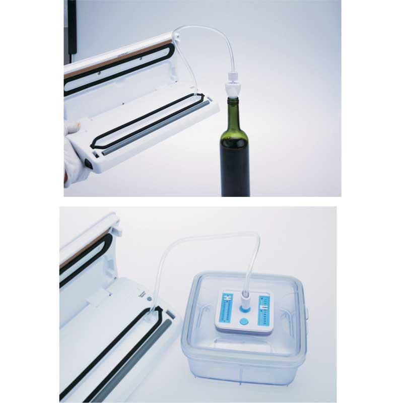 Envasadora al Vacio de alimentos Jata EV105 - Maquinas envasadoras al vacío domesticas que multiplican por 5 la vida de los alimentos y mantiene intactas sus propiedades nutritivas. Envasado al vacío y sellado, higiénico y saludable. Sistema de vacío manos libres. Potencia de succión: máxima 0,8 bares. Capacidad de la bomba: 9 litros x minuto. Función