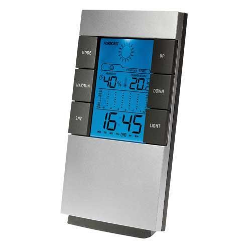 Estación Meteorológica higrómetro Clipsonic SL207 - función Alarma - Estación meteorológica Clipsonic con previsiones meteo, termómetro, higrómetro, memoria min./max. de temperatura, indicación de temperaturas de las 12 últimas horas, calendario con hora de la semana, alarma, hora, fecha, día. Formato 12-24 horas. Higrómetro de interior. Rango Temperaturas: 0ºC-50ºC ( interior ), -20ºC-60ºC ( exterior ). Formato ºC-ºF. Indicador de tendencia. Display LCD con picto meteo animado y retro-iluminación azul. Funciona con 2 baterías AA (no incluidas). - Peso bruto: 0,196. - Dimensiones: 14,1 x 8 x 4 cm. Fijación de pared ó sobremesa. Diseño simple, fácil de leer y manejar.