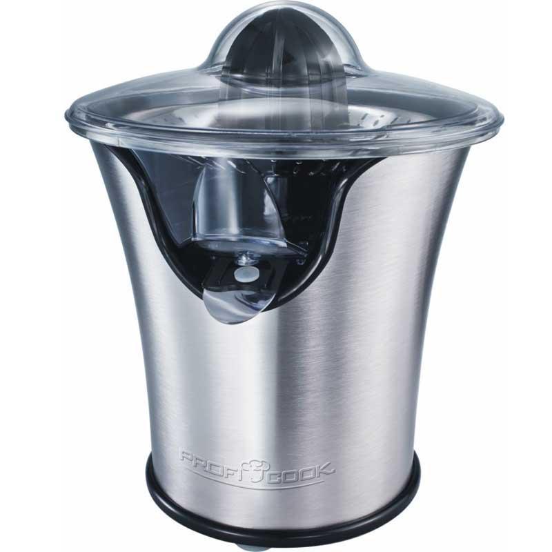 Exprimidor de citricos acero Proficook ZP1018 - 100w - Exprimidor de cítricos de alta calidad de acero inoxidable con potente motor de 100 w de larga duración y función de arranque - parado al presionar el cono. Giro del cono en ambas direcciones para un mayor rendimiento. Función anti-goteo sin salpicaduras. Boquilla de salida de zumo hecha acero inoxidable. Totalmente desmontable para una fácil limpieza. Apto para lavavajillas. Pies de goma con gran estabilidad. Alimentación eléctrica: 220-230v, 50hz, 100w.