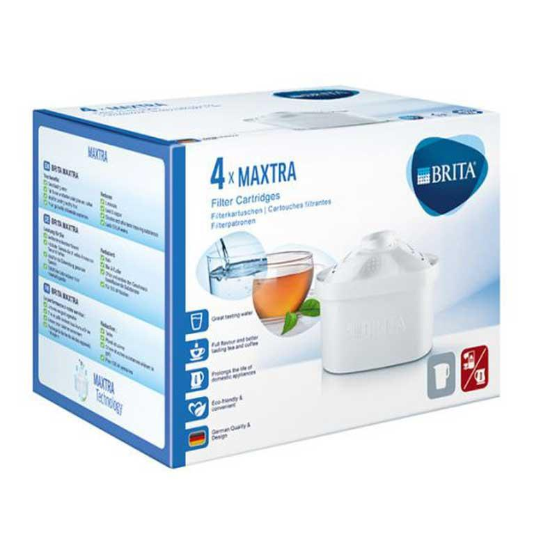 Filtro agua Brita Maxtra - pack 4 cartuchos - Pack de 4 cartuchos Filtro agua Brita con tecnología MAXTRA. Esta revolucionaria tecnología mejora el sabor: reduce las sustancias que influyen en el sabor y olor del agua, como el cloro, la cal y otras impurezas. Mejora el bienestar: Absorbe de forma permanente sustancias como, plomo y cobre. Mejor resultado de reducción de la cal que con el modelo Brita Classic. El cartucho filtro Brita MAXTRA MicroFlow Technology garantiza agua de calidad en todo momento. Fácil de insertar y quitar con el sistema