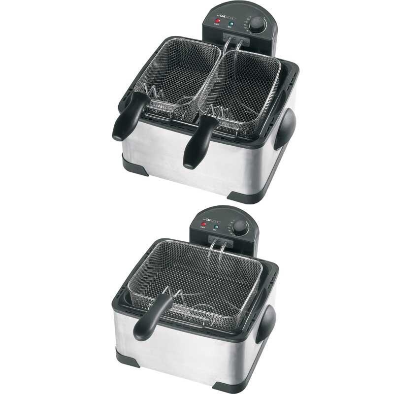 Freidora 4 litros acero Clatronic FR3195 - 2000w - Freidora de 2000 w de potencia y 4 litros de aceite de capacidad, con 2 cestas pequeñas y una grande para freír distintos alimentos. Resistencias inmersas en el aceite para calentamiento más rápido y una menor emisión de olores. Freidora con caja, tapa y resistencia de acero inoxidable. Recipiente para freír desmontable y esmaltado. 2 indicadores luminosos. Protección contra sobrecalentamiento. - Dimensiones freidora: 22,7x37,5x38,5 cm. - Cesta grande: ancho 27 x profundo 21,5 x alto 8 cm. - Cestas pequeñas: ancho 13,5 x profundo 21,5 x alto 8 cm. - Alimentación eléctrica: 220v, 50hz, 2000w