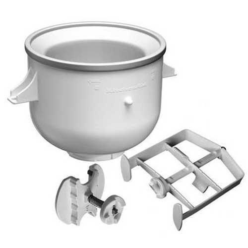 Heladera accesorio Kitchenaid 5KICA 0WH - La máquina de helados de Kitchenaid 5kica0wh posibilita la transformación de un robot de cocina en una fábrica de helados cremosos, sorbetes o postres helados. Provista de un adaptador, la heladera puede ser utilizada en los robots de cocina con cabeza elevable y en los que tienen un acople para el tazón. Para alcanzar la temperatura óptima y uniforme durante el proceso de batido del helado, la doble pared de este innovador bol de congelado contiene líquido refrigerante y hay que depositar la heladera durante 15 horas en el congelador. El contenedor tiene 17,5 cm de altura y capacidad máxima de 1,9 litros de helados blandos, sorbetes o postres. Las aspas untan, raspan y mezclan. Siguiendo las recetas incluidas en la guía de uso, en 20 a 30 minutos puede preparar fantásticos helados de varios sabores. Diseñada para adaptarse a todas las batidoras amasadoras mezcladoras de pie Kitchenaid construidas después de 1990. Este accesorio es compatible con los robots de cocina Kitchenaid Artisan, Ultra Power, Heavy Duty y Classic.- Ver Vídeo Demostrativo - . Garantía : 2 Años.