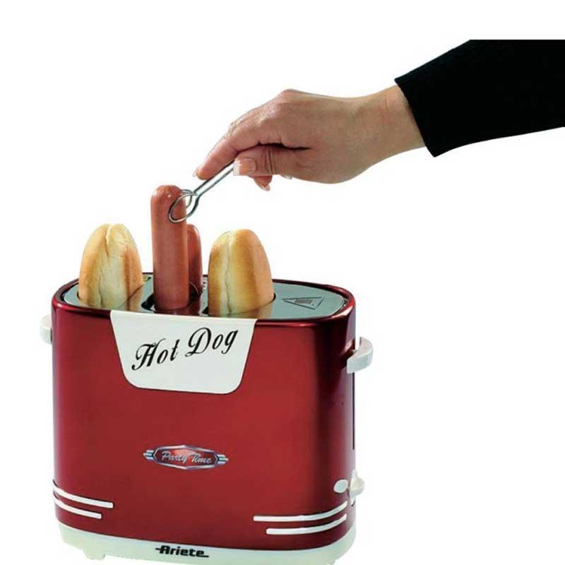 Máquina hot dog Ariete 186 Party Time - Rápido y fácil, en pocos minutos hará un hot-dog caliente y apetecible, perfecto para una fiesta en su casa al más puro estilo americano. Maquina para hacer Perritos Calientes con espacio para calentar los panecillos o bollitos y parrilla especial para calentar las salchichas con expulsión automática al finalizar la cocción. Esta original maquina de hot-dog de Ariete dispone de 5 niveles de cocción. Función de parada. Bandeja recogemigas de una fácil limpieza. - Medidas: 26x20x14 cm.  - Peso: 1,12 kg. - Voltaje AC: 230v, 50hz. - Potencia: 650w. - GARANTÍA : 2 Años. ¡¡ Ultimas unidades !!.