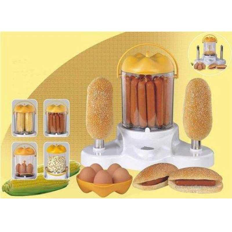 Máquina hot-dogs - hervidor huevos - palomitero Sogo SS-11950 - Cocedor de salchichas hot dog, maquina de perritos calientes, mazorcas maíz y huevos. También funciona de maravilla como palomitera para hacer palomitas. Con 2 barras para calentar bollos o panecillos de sus perritos calientes. Cocina los alimentos al vapor, dentro de su contenedor hermético. De gran capacidad, para el uso familiar. Construcción robusta, para que se quede en casa para muchos años. Muy fácil de usar y de limpiar – ahorra tiempo, y simplifica el día a día. Sano y saludable para toda la familia al no requerir ni pizca de aceite o grasa. - Medidas: 32x20,5x27,5 cm. - AC: 230v, 50hz, 370w.
