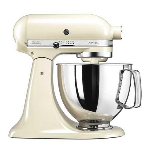 Amasadora batidora Kitchenaid Artisan 5ksm125 eac - Almendra - Robots de Cocina KitchenAid Artisan color crema - almendra , con robusto cuerpo metálico. Amasadoras batidoras mezcladoras con movimiento planetario, la varillas o ganchos giran sobre sí mismas siguiendo el contorno de las paredes del bol para resultado mas profesional. Volumen del bol: 4,83 litros. Capacidad de masa: 1.2 kg todo tipo de harina o 1 kg harina de trigo. Velocidad de 58 hasta 220 rpm con regulación de 10 velocidades. Transmisión directa por engranajes para mayor fiabilidad y durabilidad. Accesorios incluidos: Bol en acero inoxidable con asa ergonómica, batidor de varillas, batidor especial plano, batidor amasador de gancho. Kitchenaid ha diseñado la amasadora batidora mezcladora robot de cocina multi-funcional Artisan, la combinación perfecta de eficiencia, diseño y potencia con cinco años de garantía de motor.- ENVÍO GRATIS +( NO Envío Contra-reembolso ). Ver Vídeo Demostrativo y Detalles -.