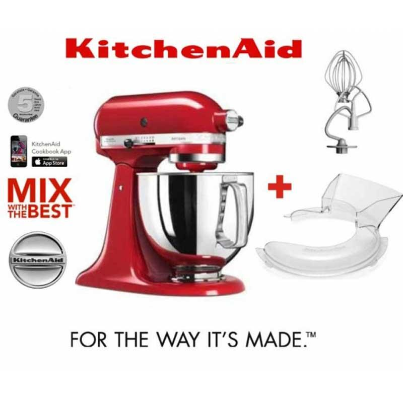 Kitchenaid Artisan 5ksm125 err + Tapa antisalpicaduras 5kn1ps - Robots de Cocina KitchenAid Artisan color rojo imperio, con robusto cuerpo metálico. Amasadoras batidoras mezcladoras con movimiento planetario, la varillas o ganchos giran sobre sí mismas siguiendo el contorno de las paredes del bol para un resultado mas profesional. Volumen del bol: 4,83 litros. Capacidad de masa: 1,2 kg todo tipo de harina o 1 kg harina de trigo. Velocidad de 58 hasta 220 rpm con regulación de 10 velocidades. Transmisión directa por engranajes para mayor fiabilidad y durabilidad. Accesorios incluidos: Bol en acero inoxidable con asa ergonómica, batidor de varillas, batidor especial plano, batidor amasador de gancho + Tapa anti-salpicaduras. Con cinco años de garantía de motor. + Set compuesto por Batidora Kitchenaid Artisan 5ksm125 + Tapa anti-salpicaduras accesorio Kitchenaid 5kn1ps.- ENVÍO GRATIS - Ver Vídeo Demostrativo -.