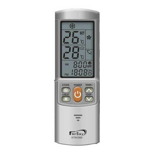 Mando universal para Aire Acondicionado Fersay KTN1000 - Mando a distancia universal para aire acondicionado. Sólo es necesario programar una vez de una forma muy sencilla, quedando el código grabado incluso quitando las pilas. Incluye función de reloj y temporizador. Con pantalla LCD retroiluminada. Función única de frío y calor inteligente. Válido para multiples marcas/modelos de aire acondicionado: Alpin, Aucma, Banshen, Boerka, Carrier, Changhong, Chigao, Chofu, Chunlan, Corona, Conrowa, Consul, Daewoo, Daikin, Doctor, Dongbao, Electrolux, Fedders, Frestech, Fujitsu, Funai, Galanz, General, Goldstar, Gree, Haier, Hisense, Hitachi, Huamei, Hyundai, Jhonson, Klimatair, konka, LG, Little Duck, Midea, Mitsubishi, Noritz, Panasonic, National, Philco, Proton, Rowa, Samsung, Sanyo, Sasuki, Sharp, Shinco, Sova, Summer, Swan, Tadiran, Teco, Toshiba, Uni Air, Whirlpool, York. + Garantia: 2 Años.