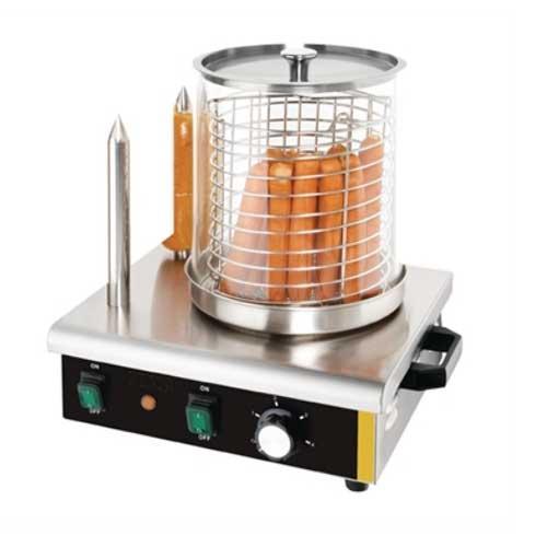 Máquina de hot-dogs profesional - 2 pinchos - acero inox