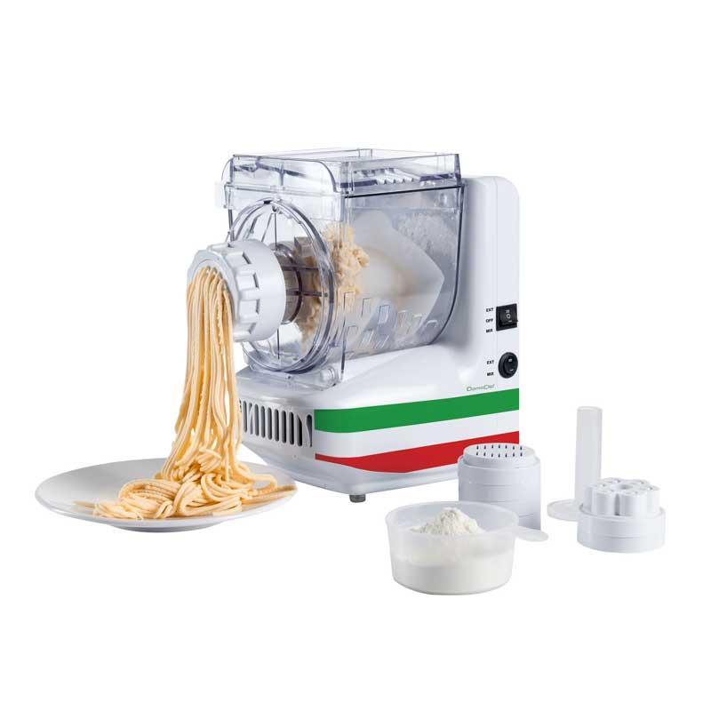 Maquina hacer pasta fresca Domoclip DOP101 - Máquina para hacer pasta fresca Domoclip de 180 w de potencia. Con esta máquina podrás elaborar 10 tipos de pasta distintas cómodamente. Basta con verter los ingredientes en la cubeta y la máquina se encargará de mezclar y amasar. Dependiendo del disco seleccionado obtendrás: espaguetis, rigatoni, tallarines, liguine, fettucine, oriental, capellini, lasaña, tortellini, cookie. Cuba de amasado con capacidad de 400 gr de harina, transparente para poder visualizar la consistencia de la pasta y tapa transparente. Cambio del modo amasado al modo extrusión por interruptor, pies antideslizantes para mayor estabilidad. - Capacidad: 500 ml. - Medidas: 23x18x29 cm. - Peso: 5 kg. - Alimentación eléctrica: 220-240v, 50-60hz, 180w. - Ver Detalles -