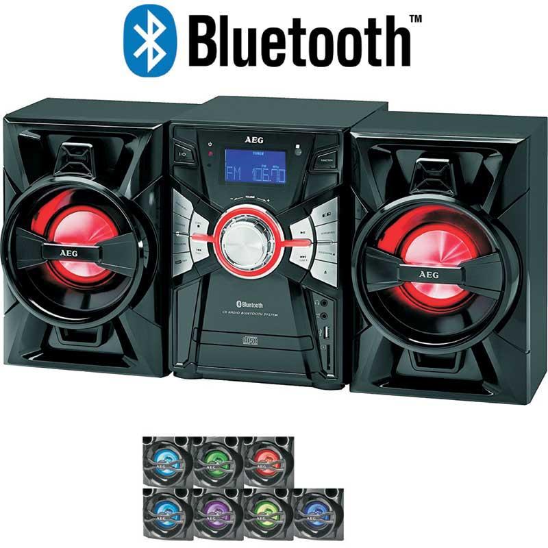 Minicadena Cd Mp3 Usb BT AEG MC4465 - Minicadena multifuncional con reproductor de radio, CD, MP3, USB, tarjetas y Bluetooth. Equipo de musica con perilla de control y mando a distancia por infrarrojos, pantalla LCD iluminada en azul, indicador luminoso LED de encendido, altavoces de 2 vías con iluminación regulable individualmente y controlable por el mando a distancia. Luz de discoteca de 7 colores. Bluetooth ideal para conexión inalámbrica a su teléfono inteligente Smartphone, tablet PC o cualquier otro dispositivo compatible Bluetooth para la transferencia de contenido de radio por Internet o archivos de música, con alcance de 15 mts. Conexión por cable a través de AUX-IN. Reproductor de carga frontal para CD´s top loading, CD, CD-R, CD-RW, reproducción MP3, programación titulo MP3, búsqueda - salto de títulos, función de repetición, uno o todo. Sintonizador de 2 bandas: FM, estéreo FM, con emisoras memorizadas. Pantalla de frecuencia de radio digital. Entrada auxiliar a través de la salida de auriculares para dispositivos como, smartphone, PC, reproductores MP3, tablet, CD, cassette etc. - Alcance operativo: 15 mts. - AC: 230v, 50hz. - Potencia: 36,5 w. - Medidas: 20x28x24 cm. - Peso: 6 Kg. - Color: Negro. + ( ENVÍO GRATIS )
