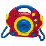 Minicadena Cd Karaoke AEG4229 - Kids Line - Reproductor de CD ideal para niños. Formatos reproducibles: CD de audio, CD-R, CD-RW, Salto / búsqueda, repetición (1 / ALL), reproducir, pausar, detener. Función de karaoke, 2 micrófonos de karaoke con interruptor on-off y cable helicoidal, 2 soportes de micrófono integrados, pantalla LED, CD-pista programable de encendido - apagado, control de volumen, control de volumen del micrófono, asa de transporte, altavoz incorporado. Conexiones: Toma de auriculares, 6 V DC. Funcionamiento con batería 4x1,5v (Baby, R14, LR14, C, UM2) - baterías no incluidas -.+( NO Envío Contra-reembolso ).