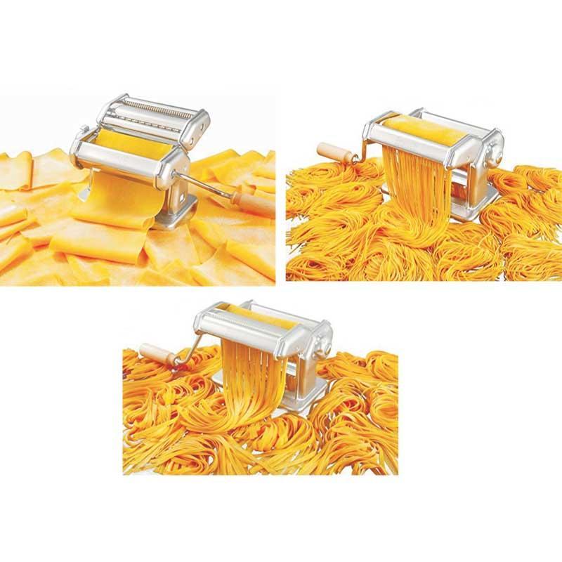 Maquina pasta manual Imperia 150 mm - acero cromado inox - Máquina laminadora de pasta fresca profesional Imperia 150, fabricada en Italia desde 1932 en acero cromado inoxidable para garantizar su durabilidad, robustez y rendimiento. Lamina hasta 150 mm de ancho con regulación de 6 espesores distintos, que le permite elaborar laminas lisas de masa para hacer Lasaña y con los 2 rodillos cortantes incorporados, dos tipos de corte de pasta: tallarines de 2mm y fettuccine de 6,5mm. La Imperia 150 incluye una cómoda manivela y práctico sistema de fijación a la mesa de trabajo para evitar que se mueva y facilitar su uso. Fácil limpieza. - Fabricado de acero inoxidable 18-10 cromado muy resistente y de alta calidad. - Dimensiones: 18,5x20,5x16 cm.. - Ancho rodillos: 15,5 cm. - Anchura de trabajo: 15 cm. - Peso: 3,4 kg. - Incluye manual de instrucciones y recetario. - Hecha en Italia. + Ver Detalles +
