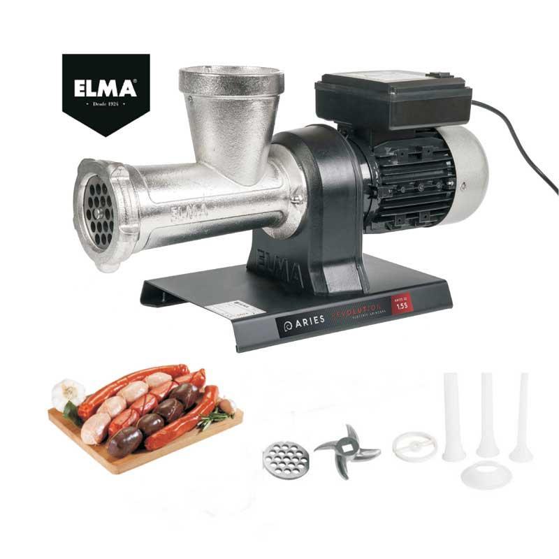 Picadora de carne ELMA Aries Revolution 1.5 S - 1000 W - D14 - Picadora de carne fabricada en acero y fundición de hierro anodizado de primera calidad para garantizar la protección contra la corrosión, un contacto higiénico con los alimentos y una fácil limpieza para cumplir con los estándares internacionales de higiene. Su potente motor monofásico de 1,5 CV auto-ventilado garantiza una alta velocidad de trabajo y rendimiento, y dispone de protector contra recalentamiento. Cabezal del nº32, para mas capacidad de carga, con limitador de seguridad en la boca de cebado, y sistema de fácil montaje y desmontaje