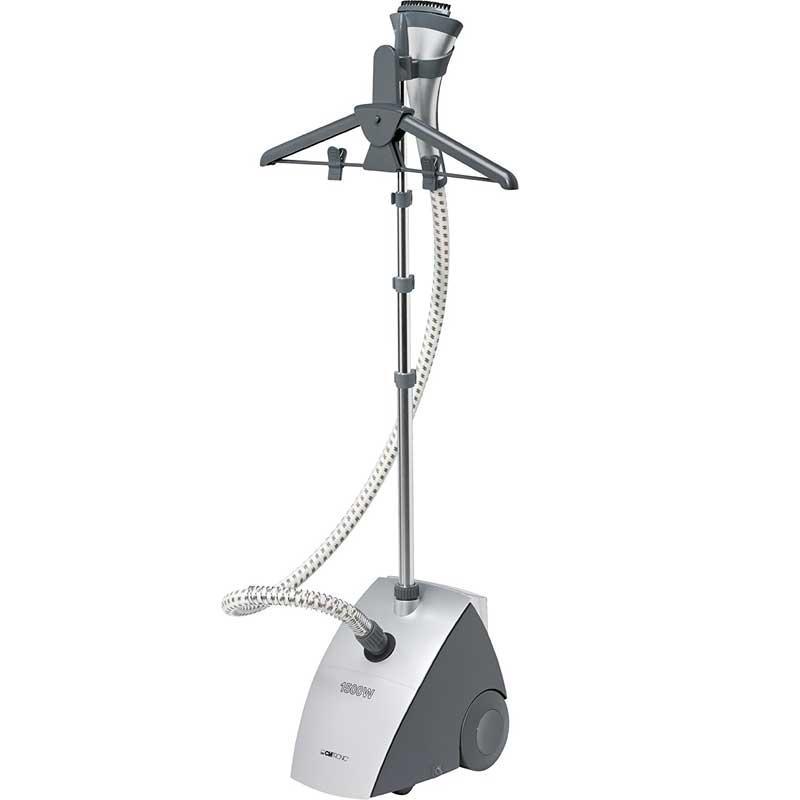 Plancha Vertical a vapor Clatronic TDC3432 - 1500w - Plancha Vertical de 1500 w para planchar con vapor eliminando las arrugas y las pelusas de las prendas, ahorra mas tiempo que la plancha tradicional. Selector de ropa delicada. Depósito de agua extraíble con capacidad de 1,2 litros. Rápido calentamiento, listo para su uso en 50 segundos y autonomía de 40 minutos. Salida de vapor continuo de 30 gr-min. y sistema anti-goteo. Esta económica Plancha Vertical incluye: Accesorios para pantalón, perchas de ropa y cepillo. Mástil telescópico de 1,35 metros para ajustarlo a la altura del cuerpo. Fácil de transportar por sus dos ruedas. Protección contra sobrecalentamiento e incendios. - Interruptor On-Off iluminado. - Longitud del cable: 1,8 metros. - AC: 230v, 50hz. - Potencia: 1500w.