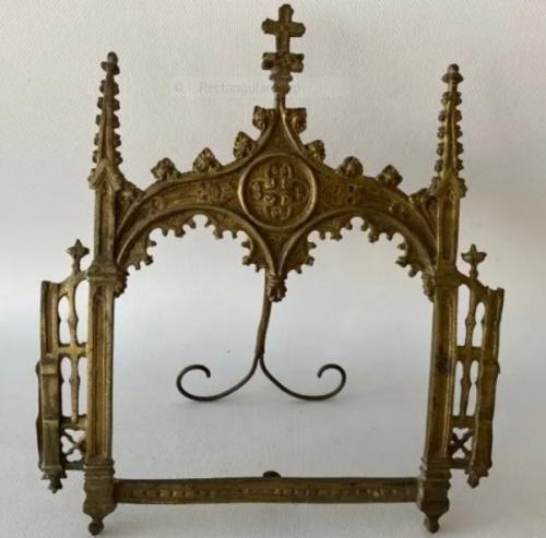 Porta-fotos Vintage en bronce dorado de diseño Neogotico