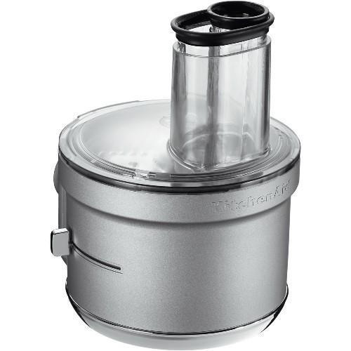 Procesador de alimentos Accesorio Kitchenaid 5KSM2FPA - Accesorio procesador de alimentos válido para robots Kitchenaid modelos 5K45SS, 5KSM125, 5KSM175PS, 5KSM150PS-156, 5KPM5-50 y 5KSM7591X. Se acopla fácilmente a la batidora de pie y la convierte en un procesador de alimentos. Descubra innumerables posibilidades con las opciones de la batidora de pie y procese en boles o platos de cocina de cualquier tamaño. Sistema ExactSlice: Disco para trocear ajustable con la primera palanca externa del mercado. Se ajusta fácilmente: trozos gruesos o finos. Tubo de alimentación de boca ancha 2 en 1 que alberga muchos tipos distintos de alimentos. Cuchillas afiladas de diseño exclusivo y control de velocidad manual. Trozos precisos y homogéneos con alimentos blandos o duros. Kit para cortar en dados con cuchilla doble. Trocea de manera rápida y precisa muchos tipos de frutas y verduras. Discos para cortar en tiras reversible y para cortar en juliana con limpiador de alimentos independiente. Escoja tiras finas o gruesas al cortar todo tipo de frutas, verduras y quesos. Piezas aptas para el lavavajillas, incluido el forro extraíble. Fácil de limpiar. Sin complicaciones ni enredos. Caja de almacenamiento compacta para guardar todas las piezas intercambiables para guardar ordenadamente todas las piezas sin ocupar demasiado espacio.- Ver Detalles y Vídeo - ( ENVÍO GRATIS ).