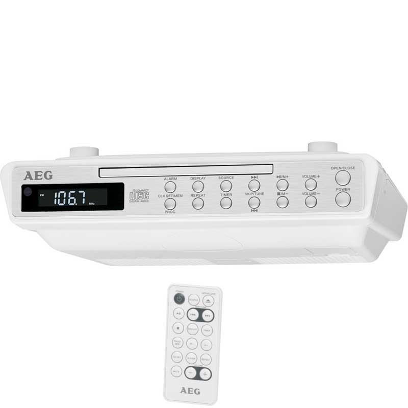 Radio CD Estéreo de Cocina AEG KRC4376  - Radio de cocina estéreo para instalación bajo mueble con reproductor de CD. Práctico mando a distancia donde podrás controlar la mayoría de funciones. Diseño moderno con frontal en acero inoxidable. Pantalla LCD negativa. Indicador de hora en formato 24 horas. Función alarma. Altavoces estéreo. Accesorios de montaje incluidos. Se puede poner pilas para evitar la pérdida de información guardada si falla el suministro eléctrico. - Ver Detalles -( NO Envío Contra-reembolso ).