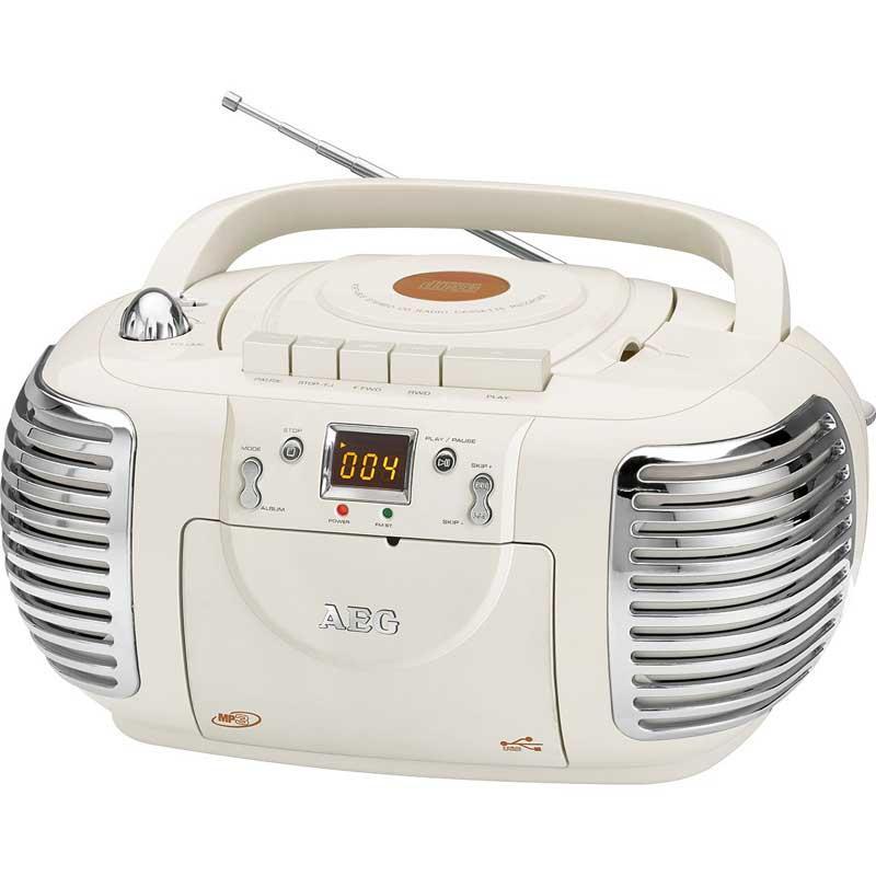 Radio Cassette Cd - Mp3 - Usb - Nsr AEG NSR4377C - Radio Cassette estéreo de diseño Retro con CD y puerto USB para la reproducción de archivos MP3, etc.. Equipo con estilo Vintage portátil multifunción y versátil, con reproductor de cassette, CD y MP3 y radio. Pantalla LCD iluminada en color naranja. Altavoces estéreo. - Color: Crema. - Voltaje: 230 V,  50 Hz. - Batería: 6 x 1,5 v - Pilas no incluidas -. - Medidas: 29,5x14x22 cm. + Ver Detalles.