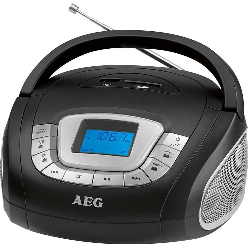 Radio Mp3 - Usb - Sd AEG SR4373 Negro - Práctica radio estéreo con puerto USB y ranura para tarjeta SD para la reproducción de archivos MP3, etc. Pantalla LCD de 4,2 cm, iluminado en azul. Altavoz estéreo. Indicador de hora en formato 24 horas. Función alarma. Función de apagado programado hasta 90 minutos, para que usted pueda dormirse con la radio o música MP3. - Color: Negro. - Voltaje: 230 V,  50 Hz. - Batería: 4 x 1,5 V  - Pilas no incluidas. - Medidas: 17,5x9,6x18,6  cm. + Ver Detalles.