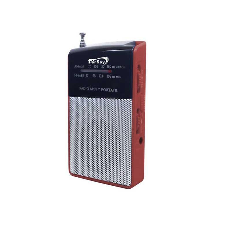 Radio de bolsillo Fersay 1010R - analogica - Radio transistor analógico de bolsillo Fersay color rojo. Portátiles con sintonizador manual e indicación de la frecuencia, altavoz de alta calidad, de gran alcance y con rejilla metálica, conector de auriculares de 3,5 mm, antena telescópica y regulador del volumen.  - Frecuencias: FM 88-108 MHz, AM 530-1600 KHz. - Auriculares incluidos. - Medidas: 57x97x20 mm. - Alimentación eléctrica: 2 baterías tipo AAA. - Incluye puerto para auriculares. - Garantía: 2 Años.