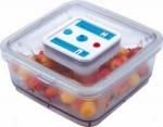 Recipiente hermético envasadora al vacío JATA BW1L - 1 litro - Recipiente hermético con indicador de fecha de envasado, apto para envasar al vacío en envasadora selladora de alimentos Jata. Apto para lavavajillas y microondas. - Capacidad: 1 litro.  - Medidas: 16x16x6 cm.  - Tubo aspirador.  - 2 wine stoppers.