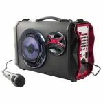 Altavoz karaoke Clipsonic TES151 - Bluetooth® - Altavoz karaoke compatible Bluetooth ®, con empuñadura y bandolera de transporte movible y ajustable, modo FM con búsqueda automática de las estaciones, 60 bandas programables, puerto USB y tarjeta TF para leer MP3, altavoz 5 W, subwoofer central 20 W, entrada auxiliar jack 3,5 mm, toma para casco, control del volumen, arreglo de los agudos, funciones play-pausa y siguiente - precedente, pantalla de control luminoso, altavoz con animación por LED de colores cambiantes, función Karaoke con micrófono incluido, 2 entradas jack 6,3 mm, ajuste del volumen y efecto eco separado, función registro, batería recargable sobre sector con adaptador y cable jack incluido, autonomía hasta 5 horas. Peso: 3,1 Kg. Medidas: 36x12,9x20,8 cm. Potencia: 25 W.