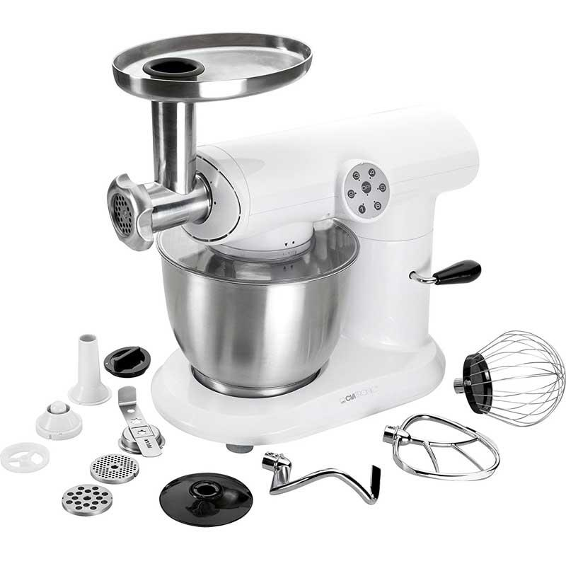 Robot de cocina Clatronic KM3414 - Bomann KM369 - 1000w - Clatronic combina diseño y eficacia para su nuevo robot de cocina KM 3414. Amasadoras picadoras con un mecanismo de engranaje especialmente robusto y bol de acero inoxidable pulido de 5 litros para la preparación de mezclas de hasta 2 kg máximo. Dispone de accesorios para mezclas fabricados en aluminio fundido, cuchilla para triturar en acero, bandeja de relleno en acero, tubo de metal y accesorio para rellenar el aparato con carne. Además de 3 discos con diferentes tamaños: 5 - 3 - 2mm. Este robot de cocina incluye tapa transparente para proteger de salpicaduras. Con 6 niveles de potencia: 0 - 1 - 2 - 3 - 4 - 5 más pulso, 5 indicadores luminosos de funcionamiento y control electrónico de velocidad facilitarán su uso. Es una amasadora que posee brazo multifunción de 60º con mecanismo de desbloqueo y posibilidad de acoplar distintos accesorios para realizar múltiples funciones, picar carne, preparar galletas, embutir salchichas, etc. Fácil de utilizar por su base antideslizante con ventosas y fácil de limpiar. - Color: blanco. - Material: plástico - acero inoxidable. - Voltajes: 230v, 50hz. - Potencia: 1000w. + Ver también Mod. Clatronic KM3648. ( NO Envió Contra-reembolso )