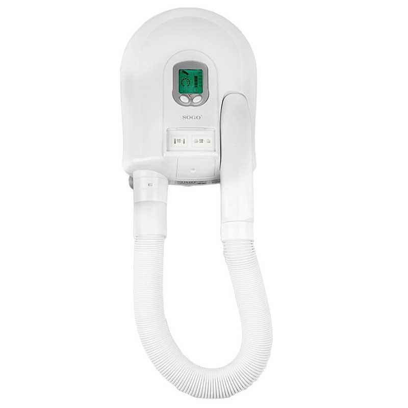 Secador pelo de pared Sogo SECAD-617 Digital led - 1500W - Secador de cabello de pared con microprocesador y pantalla LCD. 5 posiciones a 40º, 50º, 60º, 70º, 80ºC. Control calentamiento por infrarrojos. Montable en pared, con accesorios incluidos. Temporizador. Sistema automático de aire frío para prolongar la vida del tubo. Triple sistema de protección contra sobre-calentamiento. Tubo flexible. - Volumen de aire: 76,7 m3/h. - Ratio de eficiencia: 14,7. - Ratio de eficiencia: 14,7 m/s. - Peso: 2,5 Kg. - Medidas Caja Individual: 49x12x22 cm. - Voltaje AC: 230v, 50hz. - Potencia: 1500w. + Garantía: 2 Años.