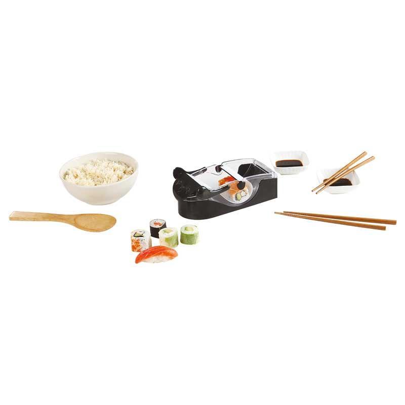 Kit para hacer Sushi Kitchen-Artist MEN300 - El kit para realizar su makis y sushis en un instante de Domoclip incluye un aparato para confeccionar y rodar el sushis y makis, 1 cuchara a arroz y 2 pares de palillos junquillos de madera, 2 cuencos pequeños para salsa de soja y\o ingredientes. - Peso bruto: 0,607 Kg. - Dimensiones: 19x7,8x6,8 cm. ¡ Disfruta degustando sushi con este económico kit, rápido y sencillo para cualquier persona !.